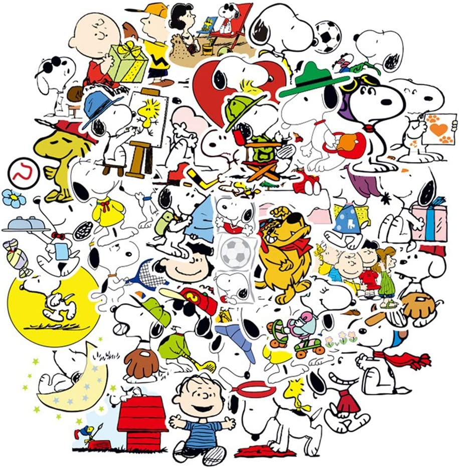 100 Pcs Snoopy Cartoon Stickers Cute Dog Waterproof Vinyl Stickers for Water Bottles Laptop Luggage Cup Mobile Phone Skateboard Decals, Suitable for Kids, Teens