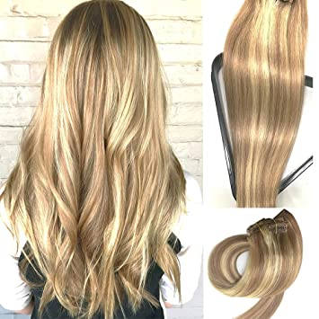 Amazon myfashionhair clip in hair extensions real human hair myfashionhair clip in hair extensions real human hair extensions 15 inches 70g clip on for fine pmusecretfo Image collections