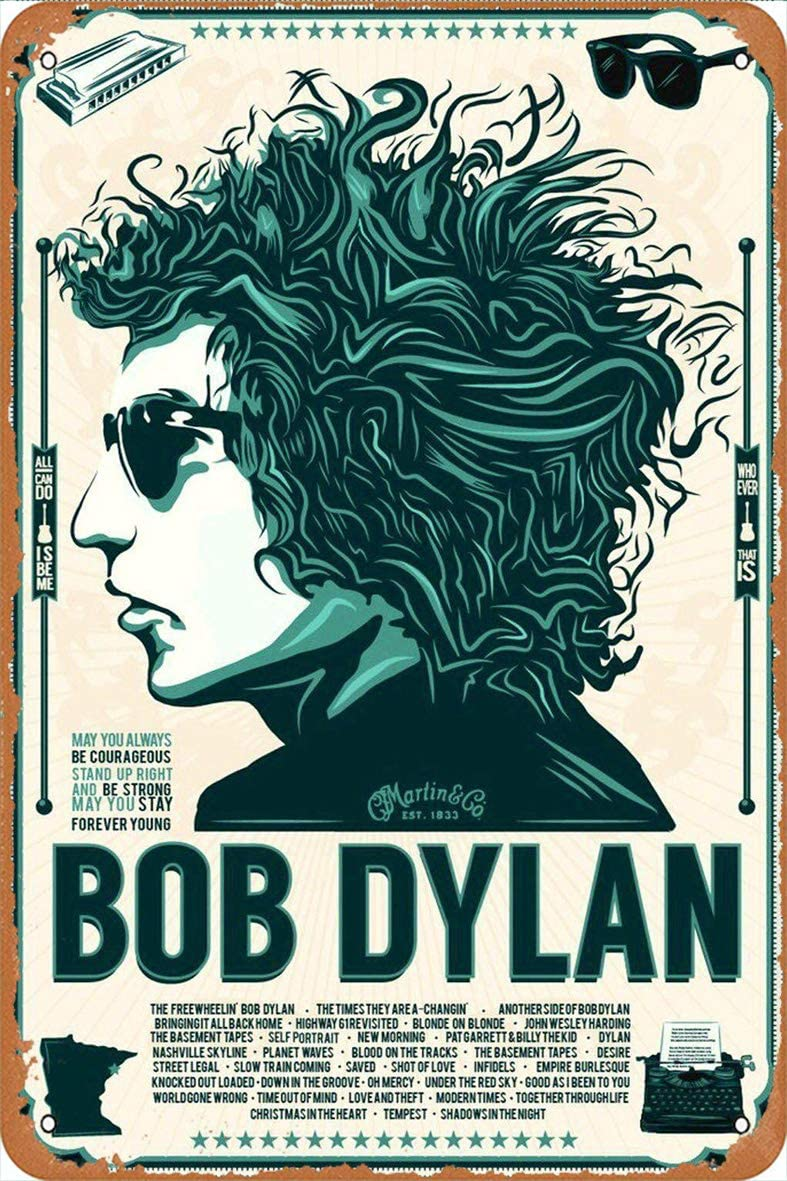 KE OU Bob Dylan Metal Vintage Tin Sign Plaque Art Poster Wall Decoration