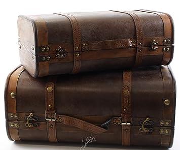 318a8e7d770 Deko Koffer Set Holz Vintage 2er Set 47,8/36,9 cm: Amazon.de: Küche ...