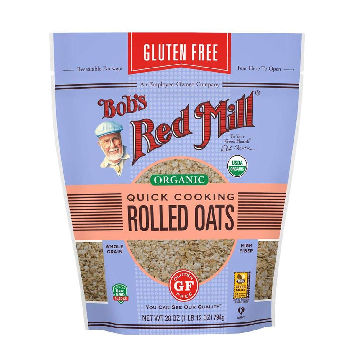 Bob's Red Mill (Resealable) Gluten Free Organic Quick Cooking Oats, 28-ounce (Pack of 4) by Bob's Red Mill