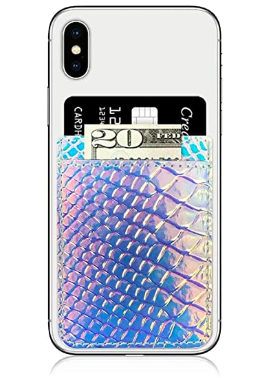 best service a6618 742fe iDecoz Phone Pockets - Stick On Credit Card Wallet - Slim Card Holder -  Universal fit - Apple – iPhone – Samsung – Galaxy - and More. (Hologram ...