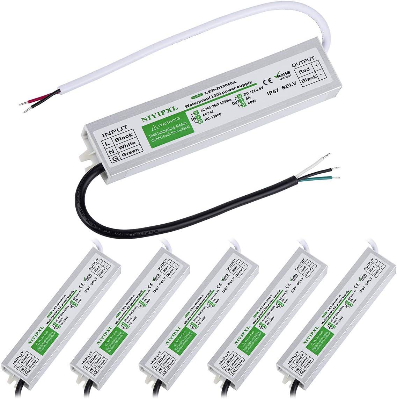 (6 팩)LED 드라이버 60 와트 방수 IP67 전력 공급 변압기 ADAPTER100V-260V AC12V DC 낮은 전압을 출력한 LED 조명 컴퓨터 프로젝트 야외 광고 어떤 12V DC LED 조명