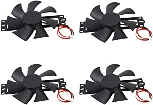 LDEXIN 4pcs DC 18V Plastic Rotary Cooling Fan7 Blades Black Case Fan Replacement for Induction Cooker Black