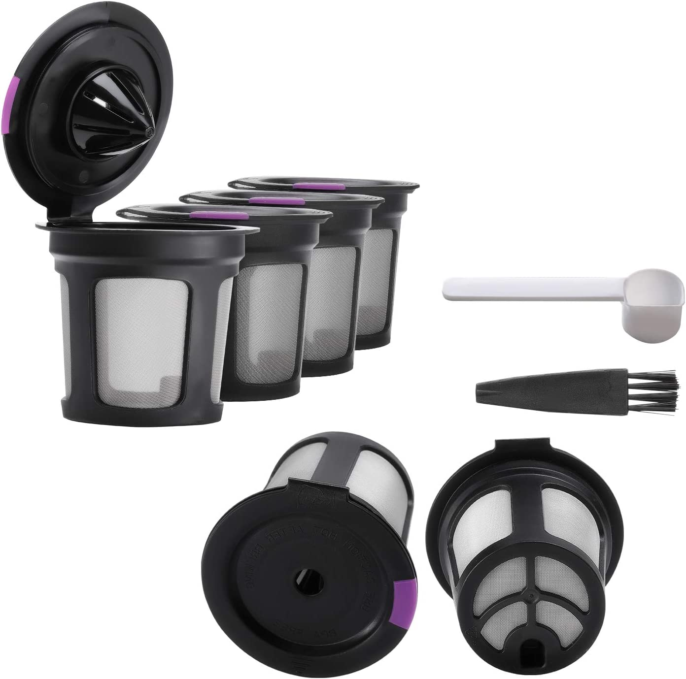 Reusable K Cups Coffee Filters Compatible with Keurig 2.0 & 1.0 Brewers – 6 Pcs Reusable Coffee Filters with Brush and Spoon Stainless Steel Mesh - Universal Refillable K Cup Keurig Filters (Black)