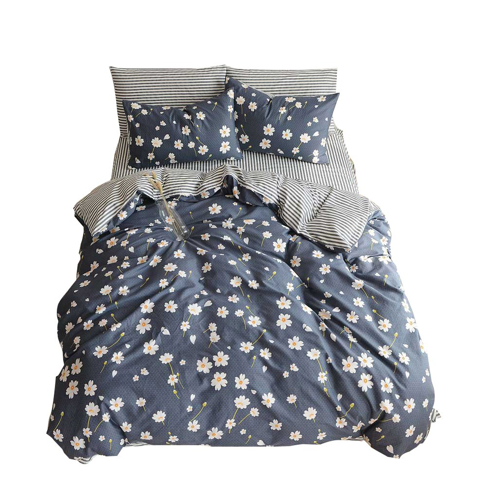 OTOB Cotton Girls Floral Teen Bedding Sets Full Size with 2 Pillow Shams Flower Striped Queen Duvet Cover Set for Kids Adults Women Student White Navy Blue Reversible, Queen/Full by OTOB