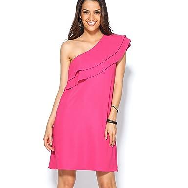 VENCA Vestido de Fiesta en Punto elástico con Escote asimétrico Doble Volant - 015484: Amazon.es: Ropa y accesorios