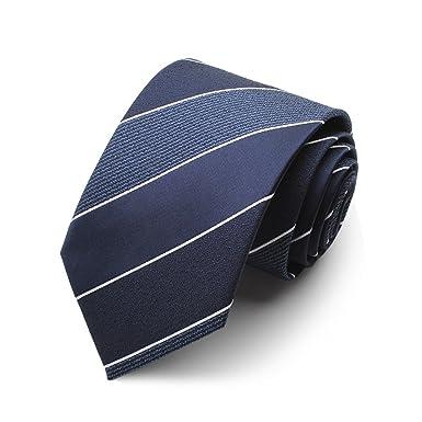 HXCMAN 7cm azul marino blanco cuadros rayas corbata diseño clásico ...