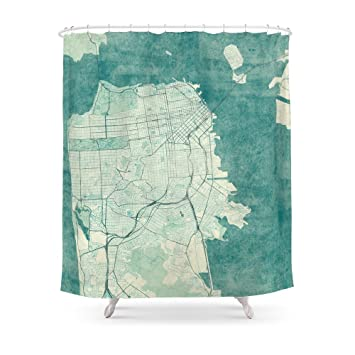 Society6 San Francisco Map Blue Vintage Shower Curtain 71quot
