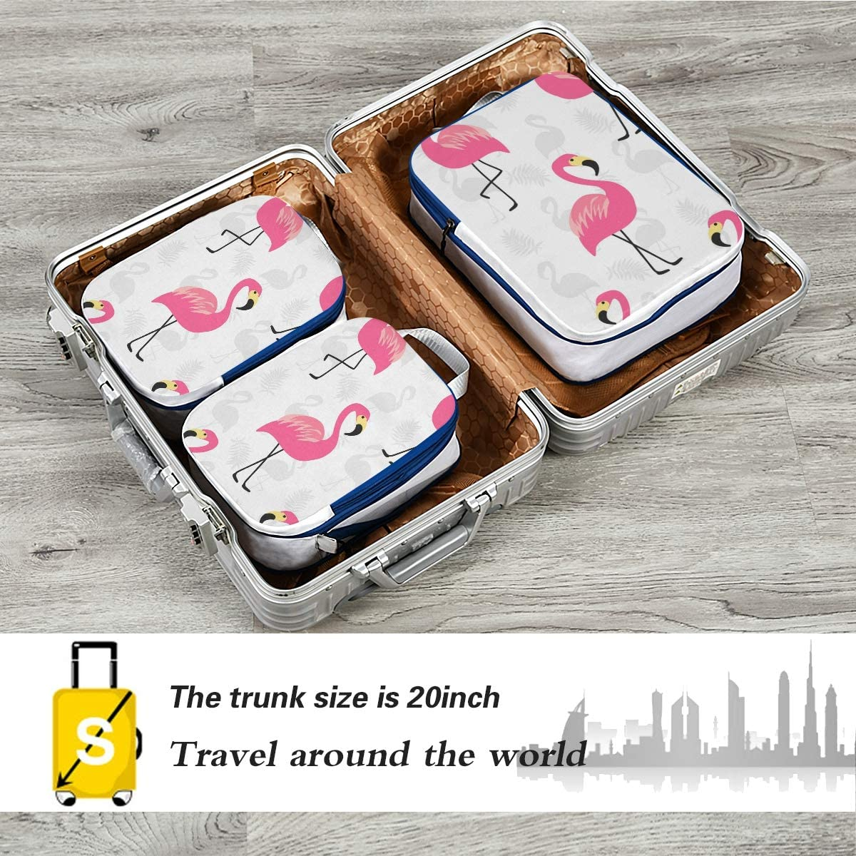 o Beautiful Pink Flamingo 3 Set Packing Cubes,2 Various Sizes Travel Luggage Packing Organizers