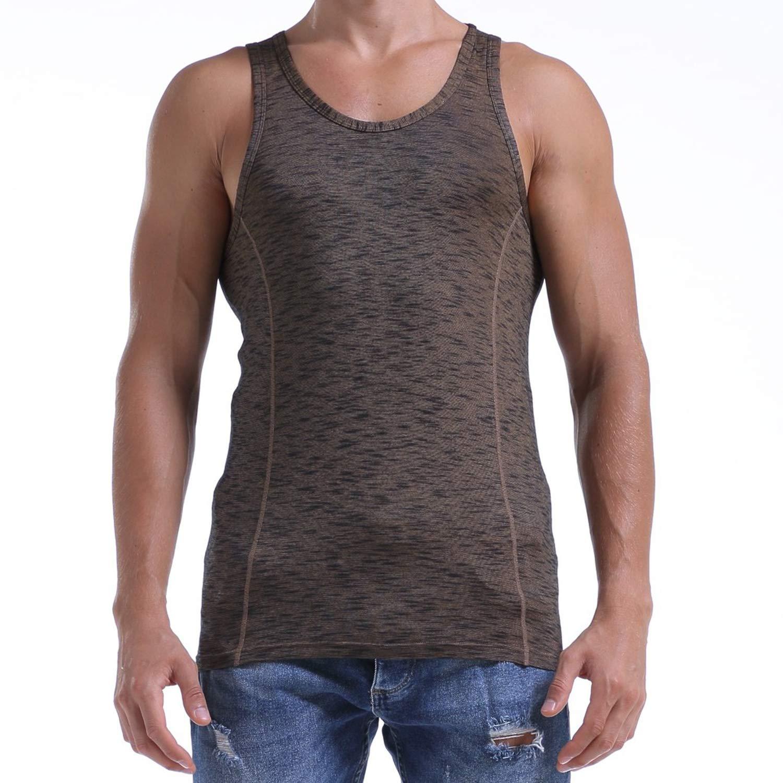 2019 New Solid Color Men Vest Cotton Print Men Fitness Tank Tops,Gold,M,United States
