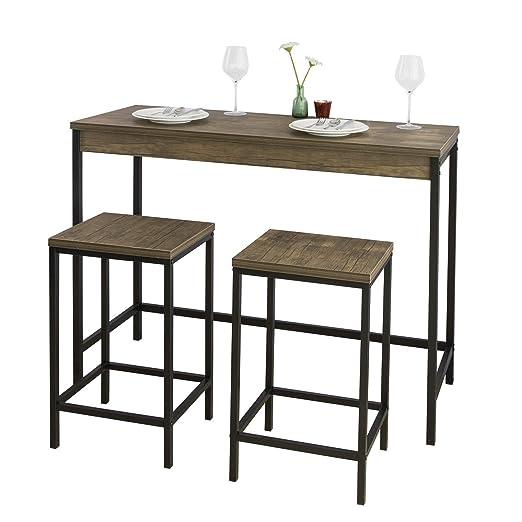 SoBuy OGT30-N Set de mesa y taburetes de estilo industrial mesa ...