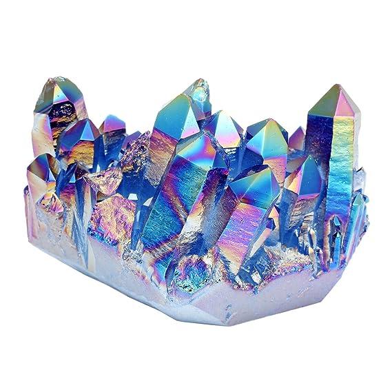 Cristal de cuarzo multicolor con revestimiento de titanio, color púrpura y azul, entre 4,7 cm y 6,35 cm, caja incluida, de QGEM