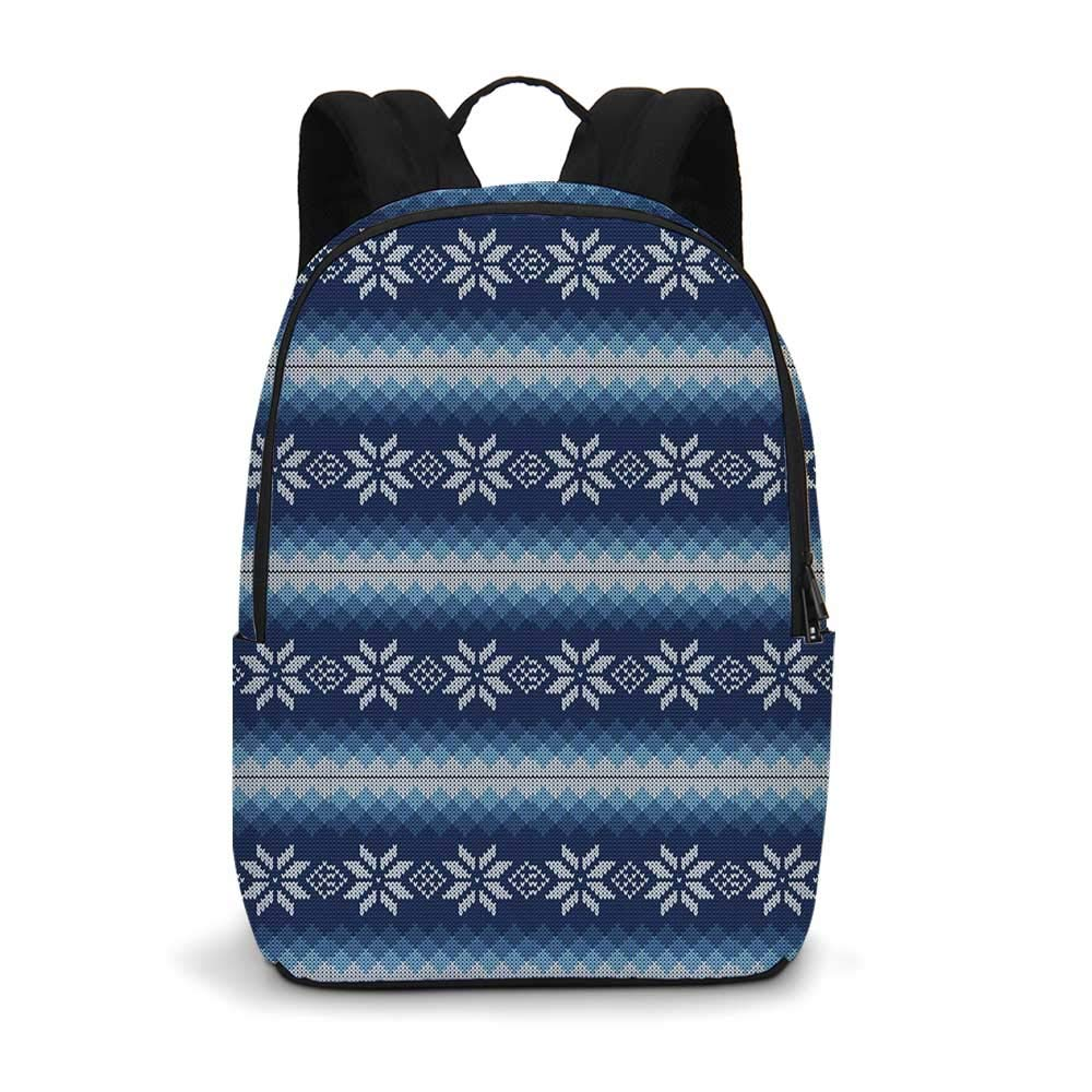 Winter Modern simple Backpack,Traditional Scandinavian Needlework Inspired Pattern Jacquard Flakes Knitting Theme Decorative for school,11.8''L x 5.5''W x 18.1''H