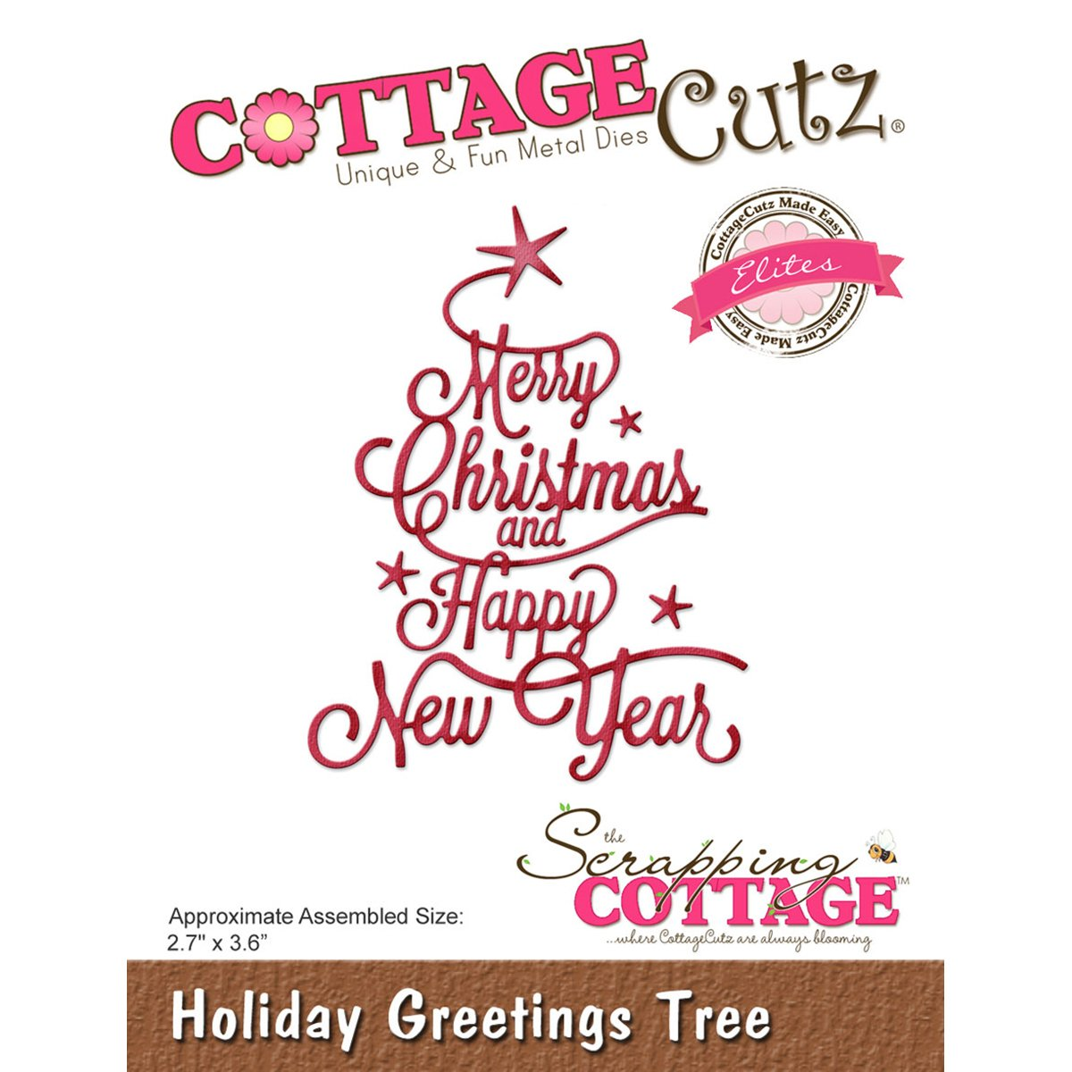 CottageCutz Elites Die -Holiday Greetings Tree, 2.7''X3.6''