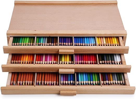Markers Pens Pencils 6 Drawer Wood Artist Supply Storage Box for Pastels