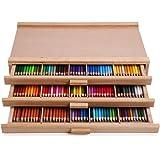 Vencer 3 Drawer Wood Art Storage Box for Pencil, Pen, Pastel, Marker Set VAO-001