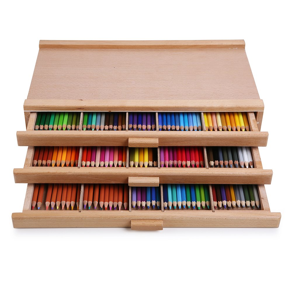 Vencer 3 Drawer Wood Art Storage Box Pencil, Pen, Pastel, Marker Set VAO-001