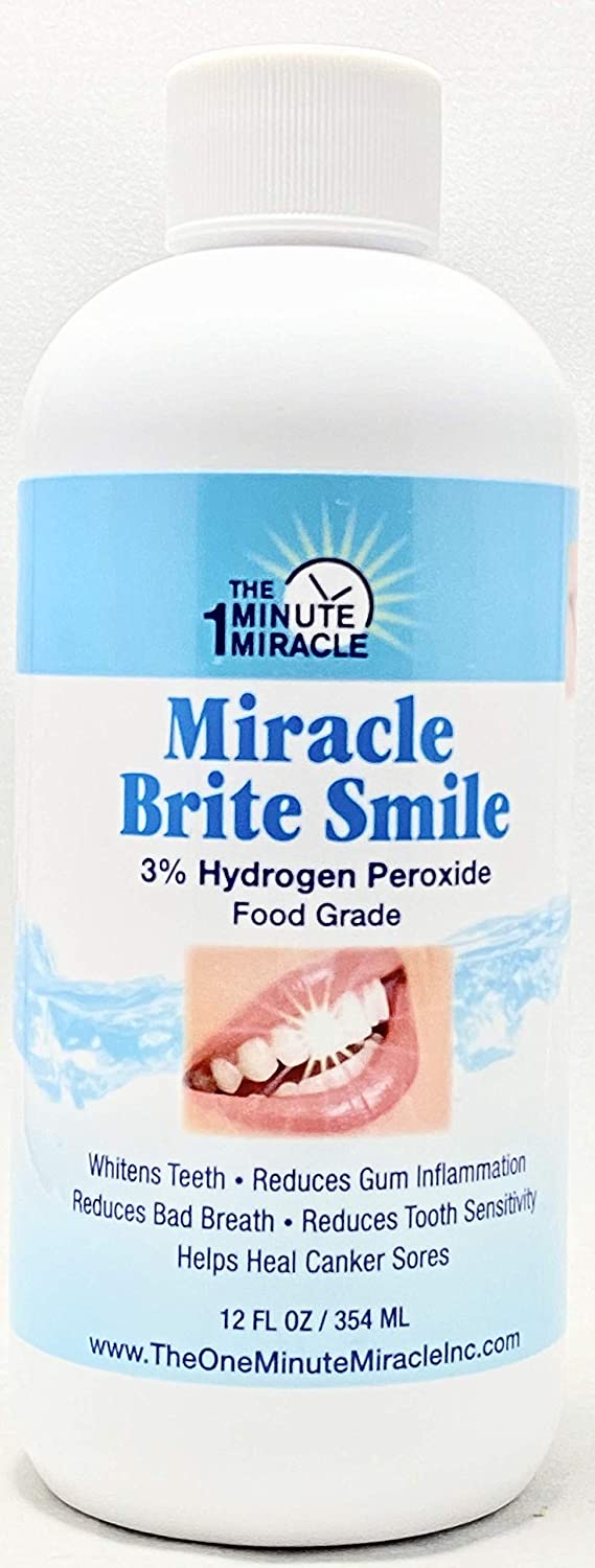 Miracle Brite Smile - 3% Hydrogen Peroxide Food Grade, Peppermint, Lemon, Clove Leaf, Cinnamon and Rosemary