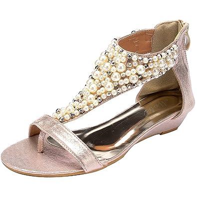 6a35d9faadb Odema Summer Bohemian Pearl Beaded Flat Womens Beach Thong Sandals XZ0067WC