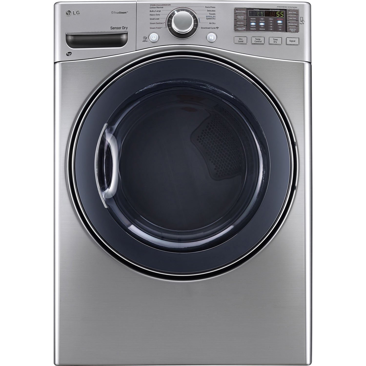 LG DLEX3570V 7.4 Cu. Ft. Ultra Capacity Front Load Steam Electric Dryer in Graphite Steel