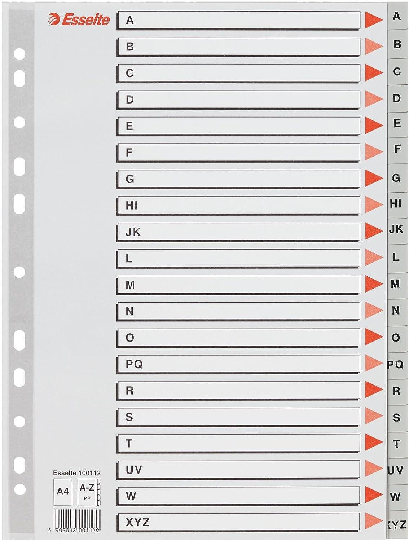 Separatore in PPL grigio alfabetico A-Z f.to A4 ESSELTE