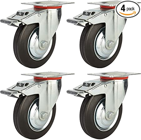 """8 Pack Quality 3/"""" Swivel Caster Wheels w// Double Brake Non Skid No Mark"""