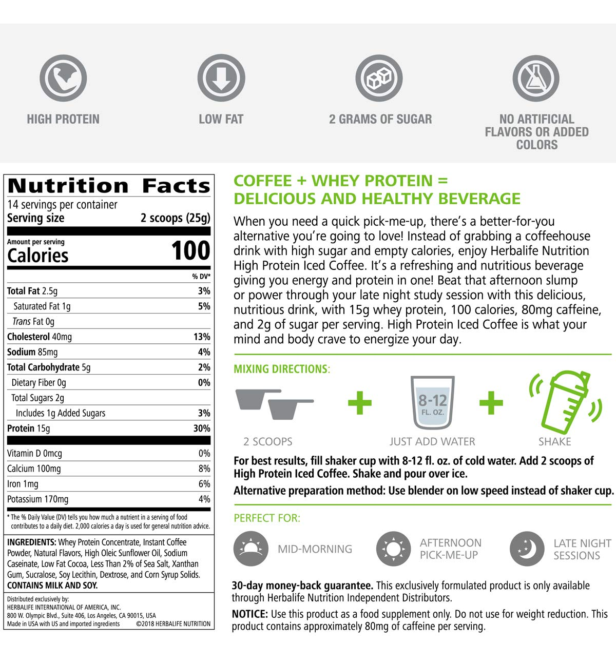 Nutritious Protein Drink Iced Coffee 350g in Mocha Flavor