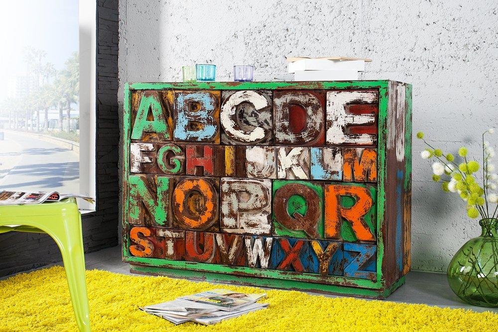 Kommode modern bunt  Massives Design Sideboard ABC Mangoholz Kommode bunt Kommode Board ...