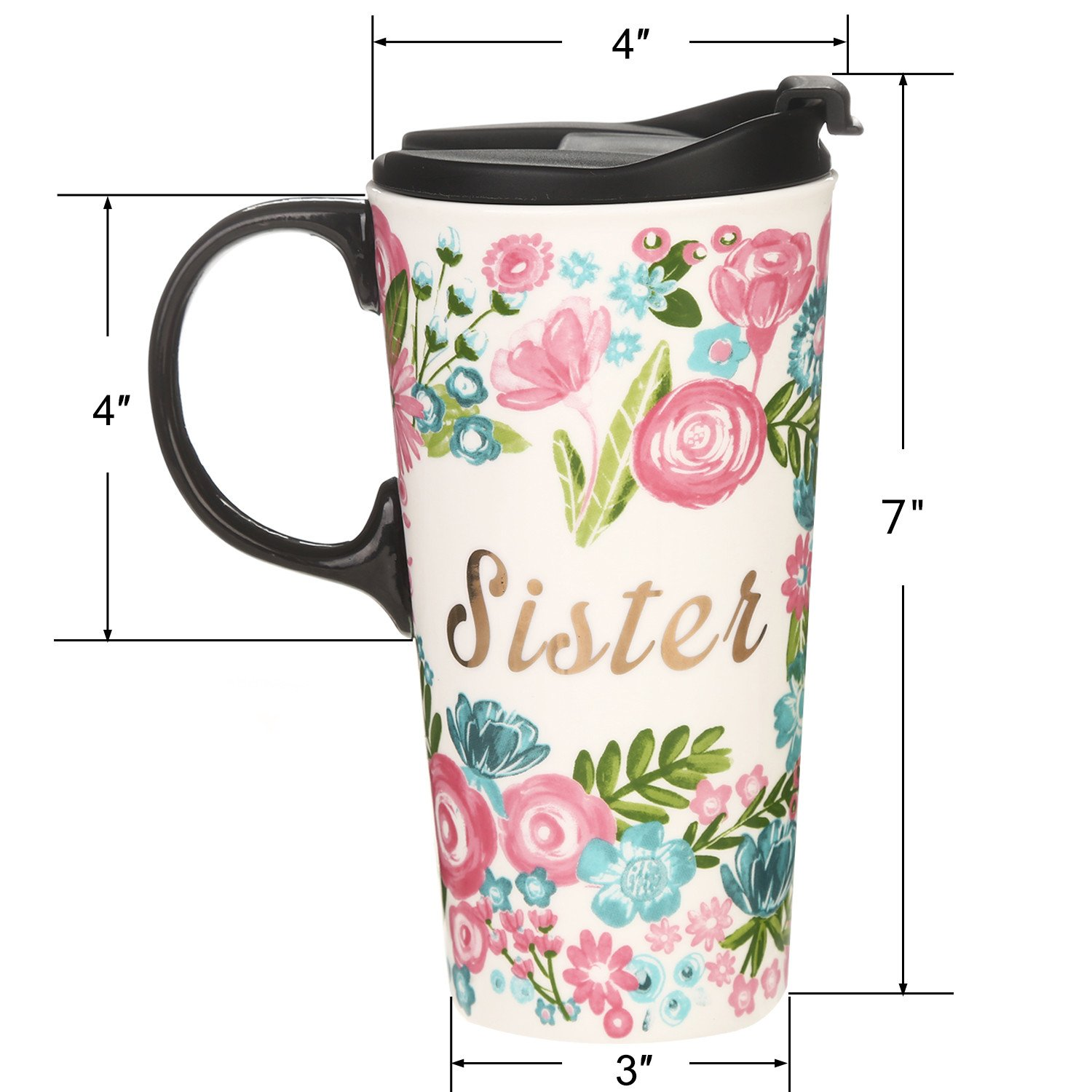 CEDAR HOME Travel Coffee Ceramic Mug Porcelain Latte Tea Cup With Lid in Gift Box 17oz. Sister & Friend, 2 Pack by CEDAR HOME (Image #5)
