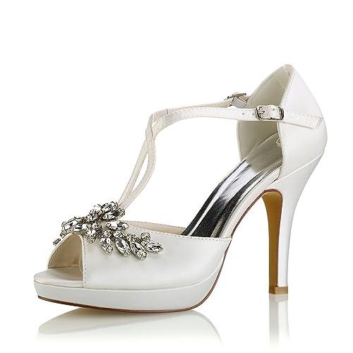 Emily Bridal Zapatos de Boda Zapatos de Novia Marfil Peep Toe Rhinestones  Criss Cross Zapatos de 1cc2fd62343