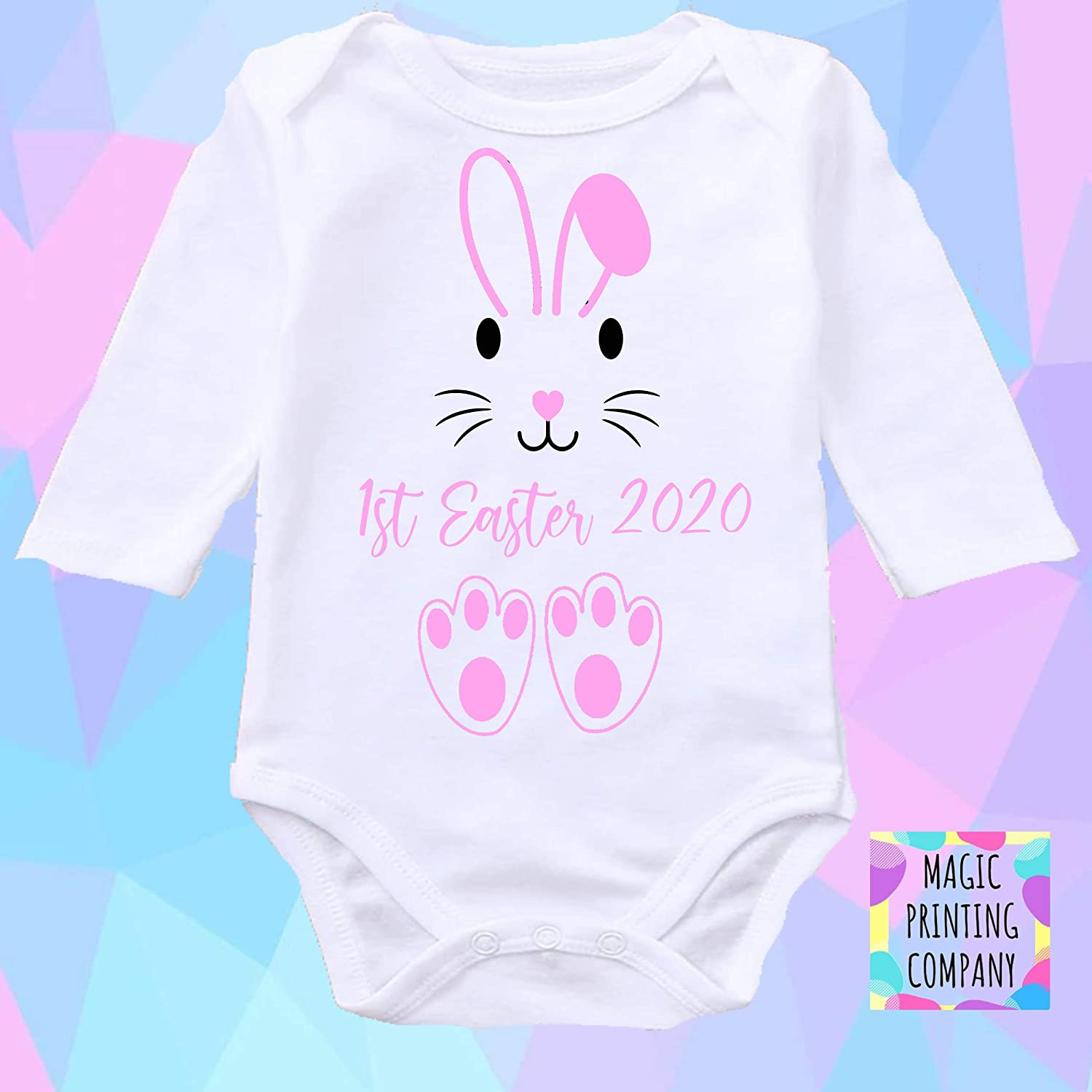Babys 1st Easter Personalised baby bodysuit vest babygrow our Outfit 1st Easter 2020 gift boys girls