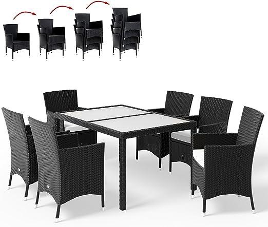 Deuba Conjunto de sillas y Mesa de poliratán Negro 6+1 sillas ...