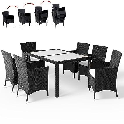 Deuba Poly Rattan Sitzgruppe Schwarz 6 Stapelbare Stuhle 1 Tisch 7cm Dicke Auflagen Gartenmobel Sitzgarnitur Set