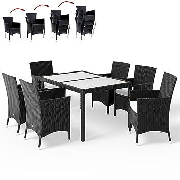 Salon de jardin 13 pieces - Plateau en verre dépoli - chaises ...
