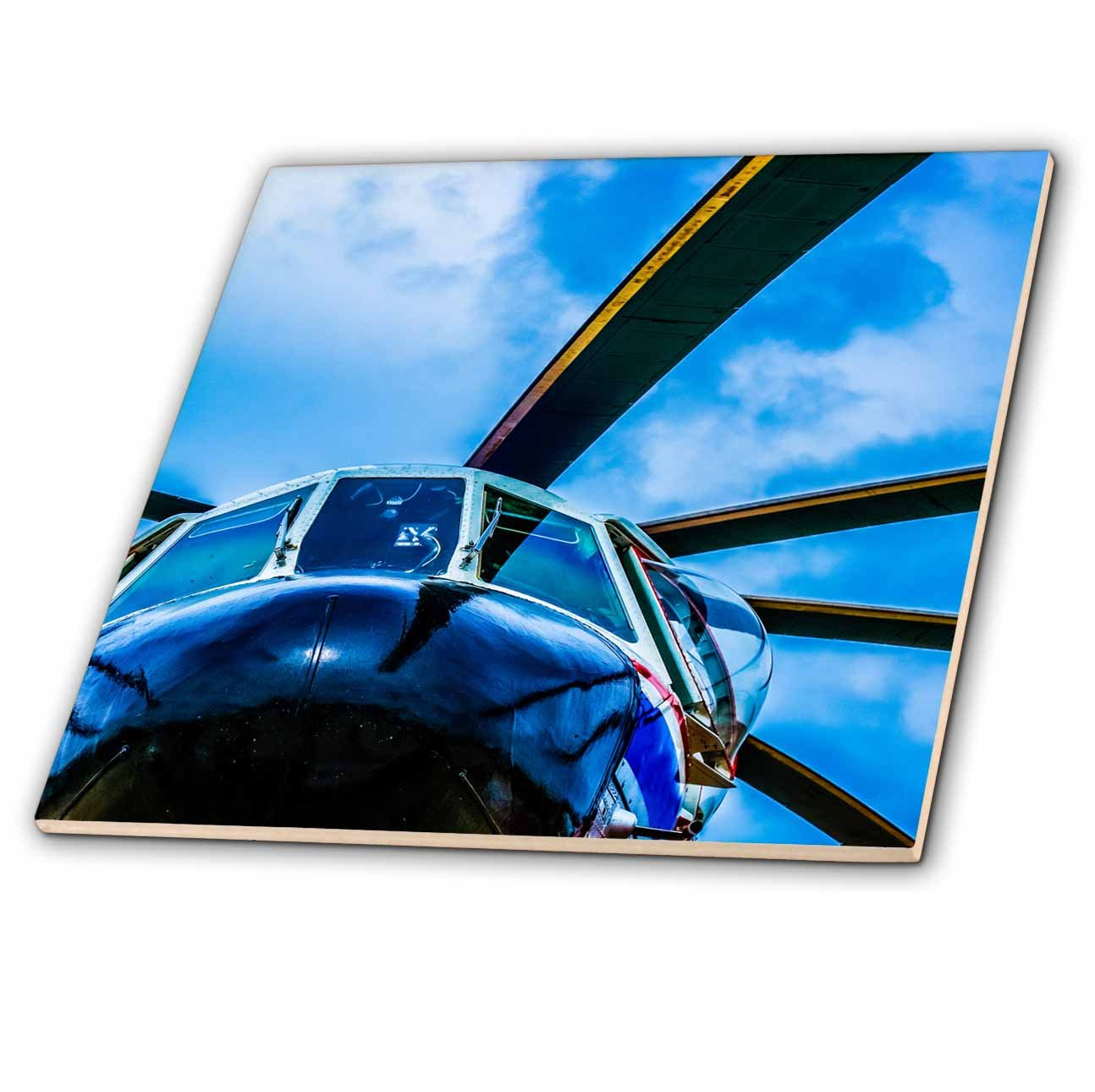 3dRose Alexis Photography - Transport Air - Colorful view of a helicopter nose, rotor blades and sky - 8 Inch Ceramic Tile (ct_267363_3) by 3dRose (Image #1)