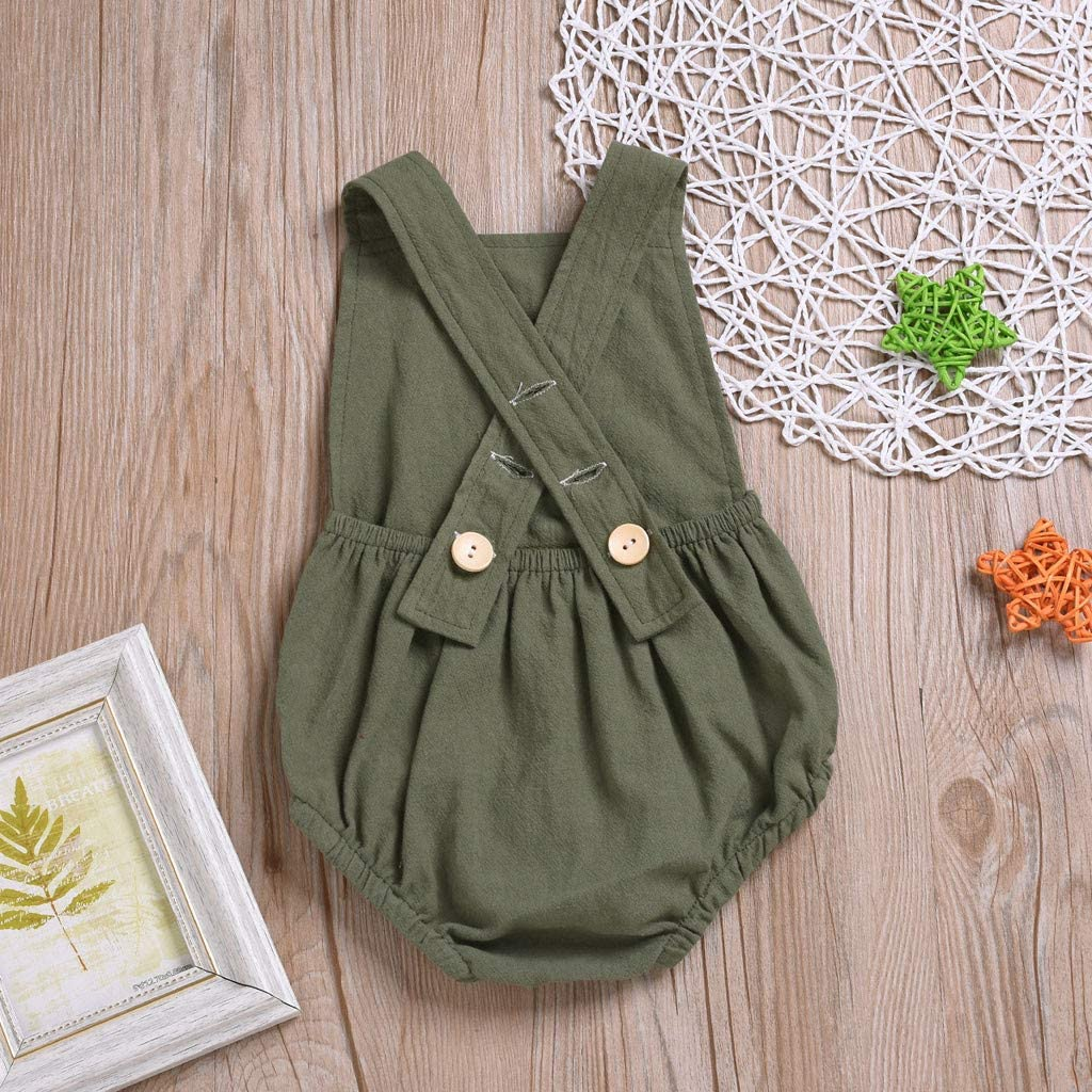 Solid Color Cotton Overalls Shorts Romper for Newborn Infant Toddler Clothes 2019 Fyhuzp Baby Summer Outfits