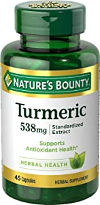Natures Bounty Turmeric 538 mg Standardized Extract, 45 Count (Pack of 2)