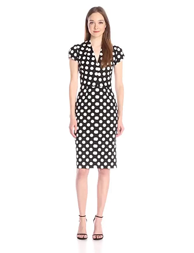 Wiggle Dresses | Pencil Dresses Betsey J Big Dot New Midi Dress  AT vintagedancer.com