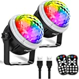 OMERIL Party Lights Disco Balls, 2 Pack USB Powered 11 RGBY Color Disco Lights Sound Activated Strobe Light with Remote…
