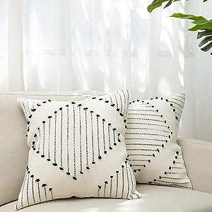 blue page Boho Neutral Diamond Decorative Throw Pillow Covers - Set of 2 Boho Pillow Cases, Cotton Woven Square 20