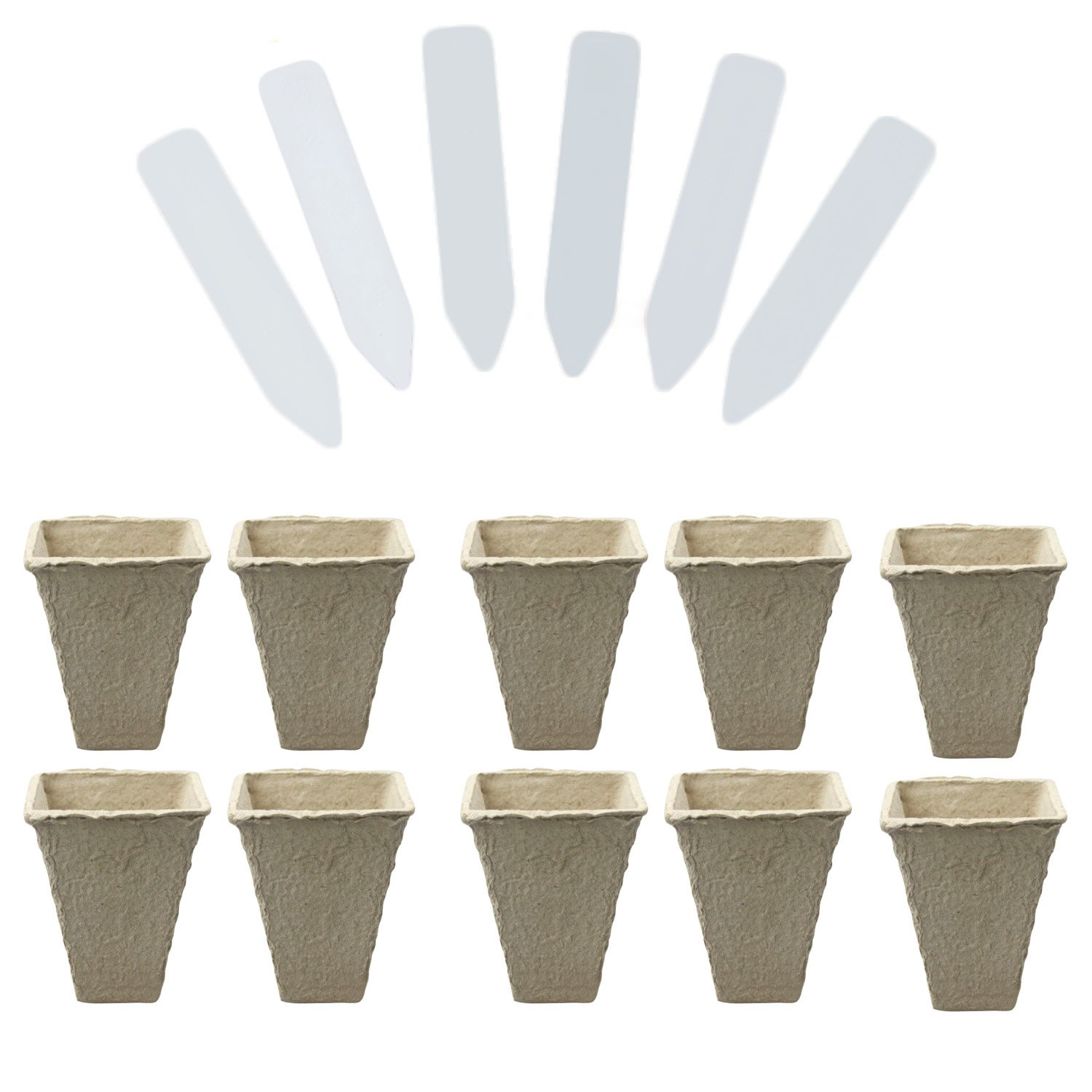 10 Strips Square Peat Pots Plant Seedling Starters Cups Nursery Herb Seed Biodegradable Pots with 50pcs Label Maker Tags Gosear