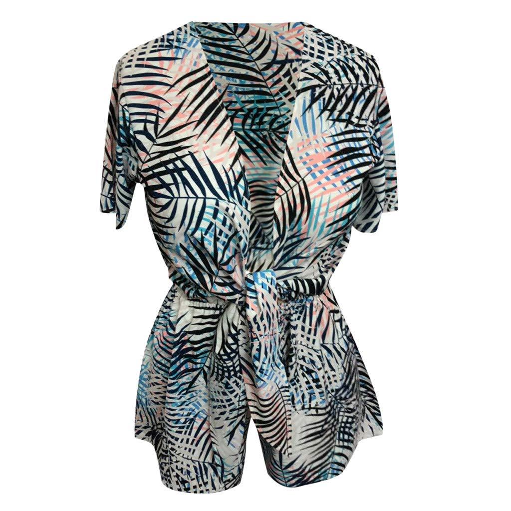 Summer Jumpsuits Women Romper Bowknot Buttons Beach Short Wide Leg Pants