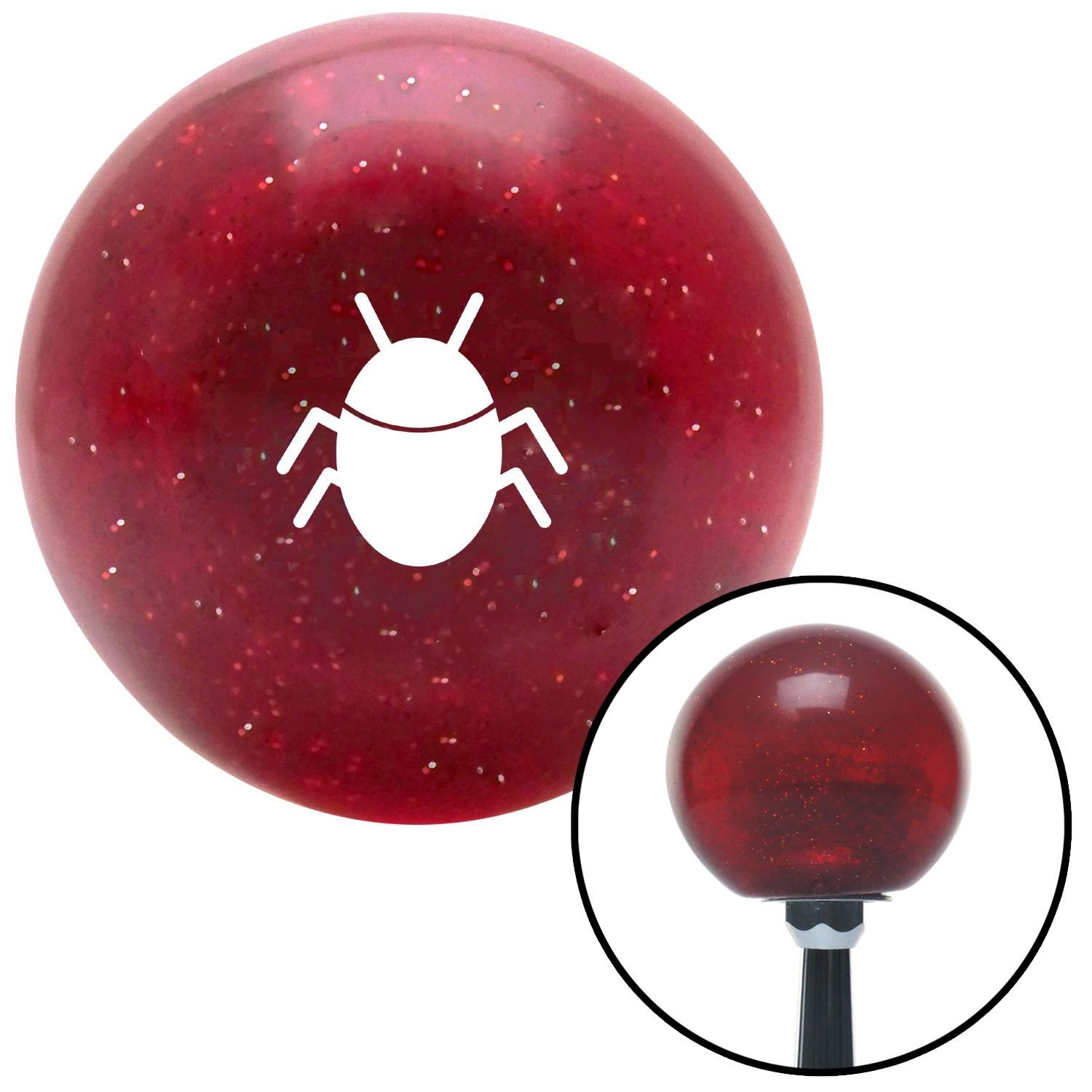 American Shifter 282029 Shift Knob White Bug Red Metal Flake with M16 x 1.5 Insert