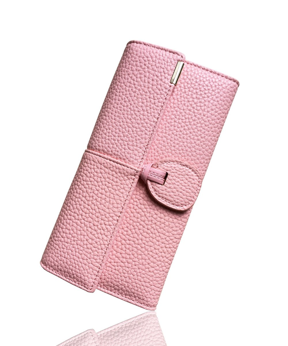 Rfid Blocking Leather wallet for women Girls,ladies long purse Large Capacity(Pink)