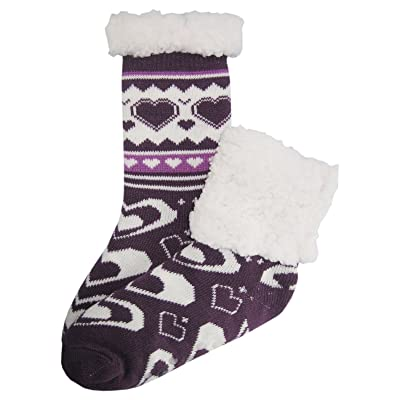 """""""J. Ann"""" Adult Cozy Sherpa Lined Crew Socks with Non-Slip. (pick up your size)"""