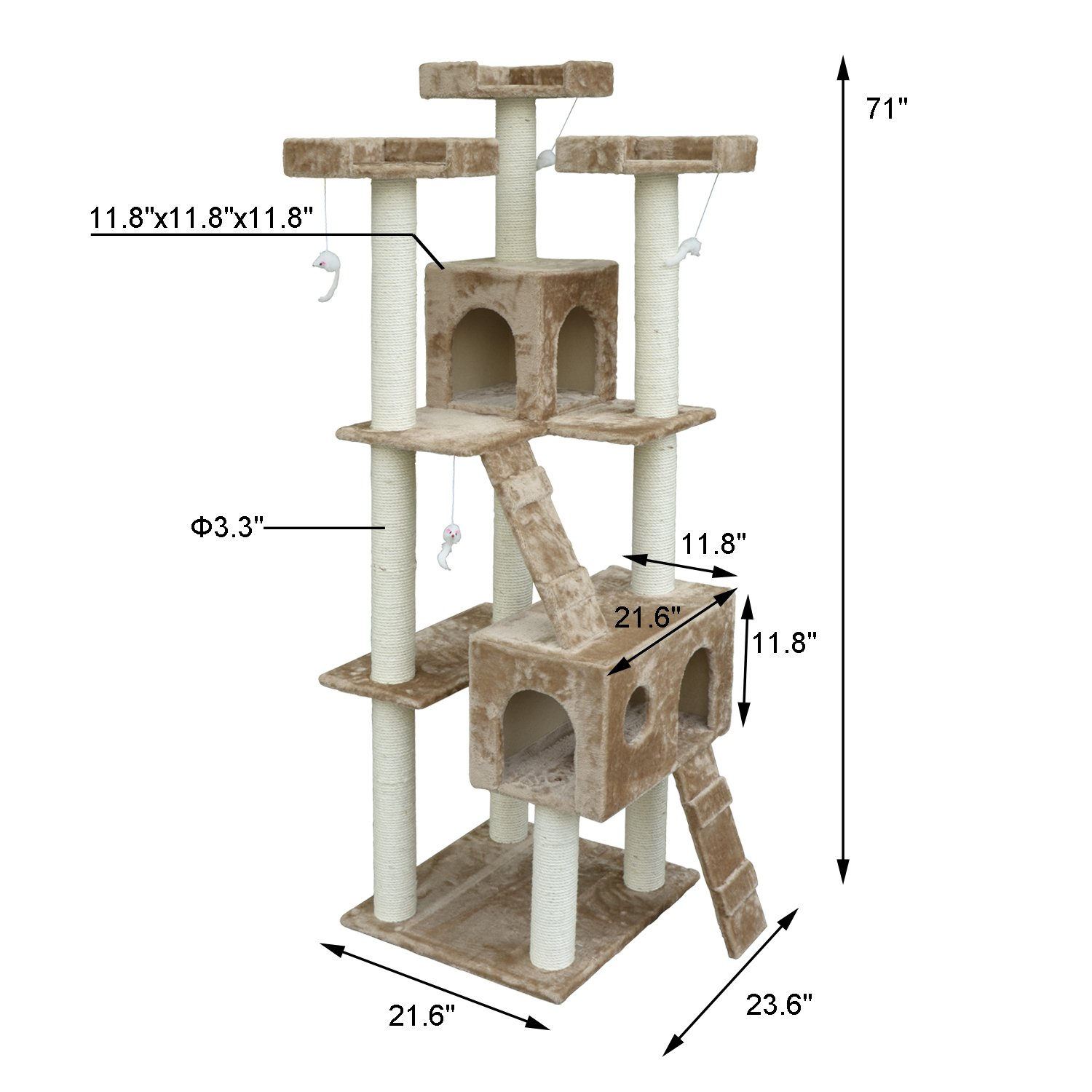 pawhut inch multilevel condo cat tree scratching house amazon  - pawhut inch cat tree furniture pet tower house with scratch post andcondo