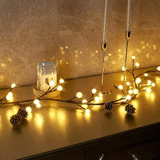 Mains Plug In 72 LED Berry Ball Cluster Twig Branch Fairy Lights Black Wire Xmas