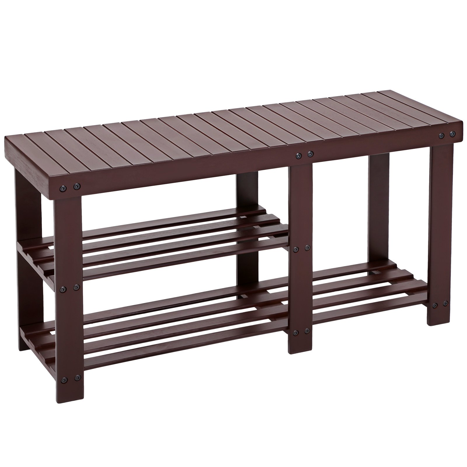 SONGMICS Bamboo Shoe Rack Bench for Boots,Entryway Storage Organizer, 2 Tiers Shoe Shelf,Multi Function for Hallway Bathroom Living Room Corridor and Garden Brown ULBS06Z