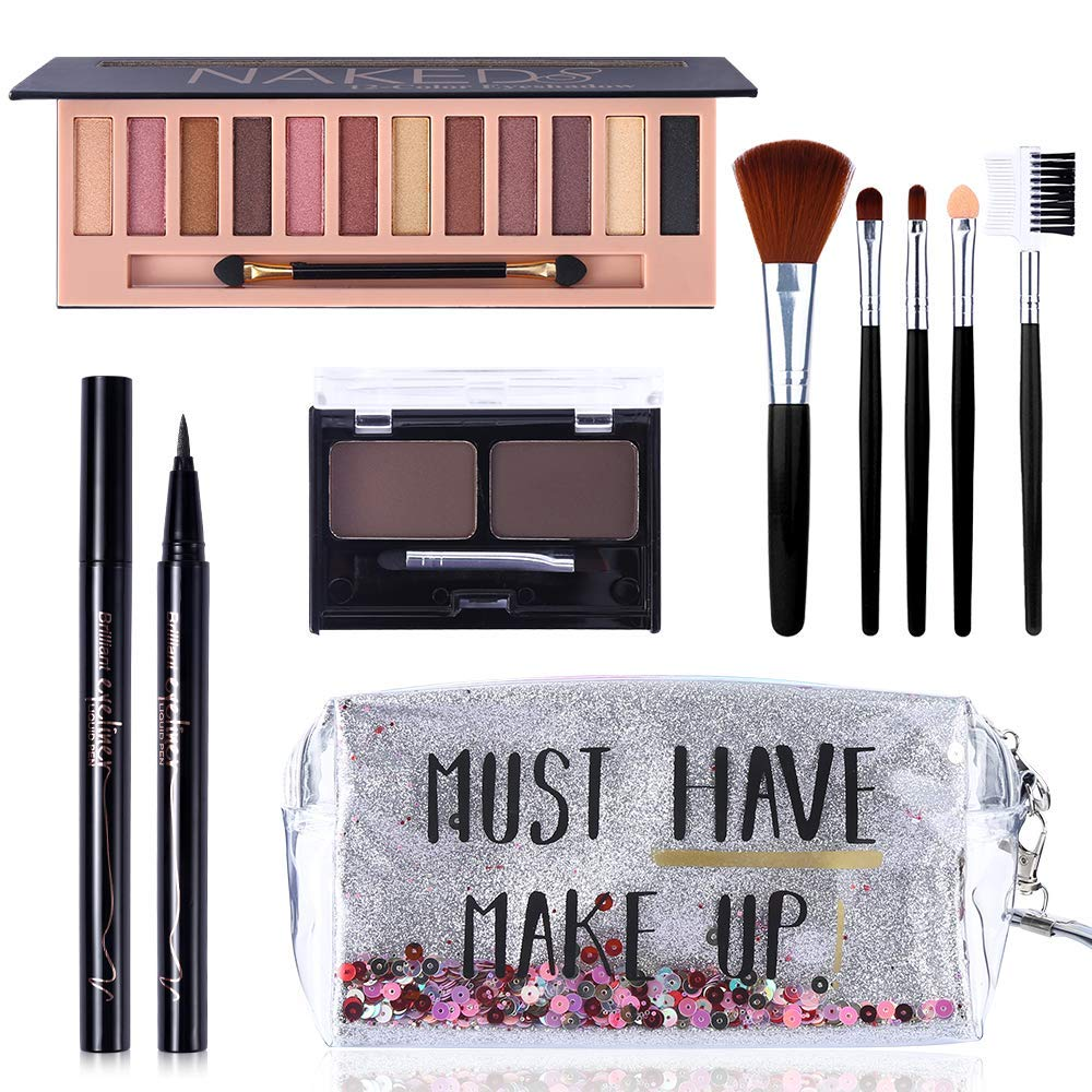 All in One Makeup Kit,12 Colors Naked Shimmer Eyeshadow Palette, Waterproof Black Eyeliner Pencil, Duo Pressed Eyebrow Powder Kit, 5 Brushes With Quicksand Cosmetic Bag Gift Set (Silver Packaging)